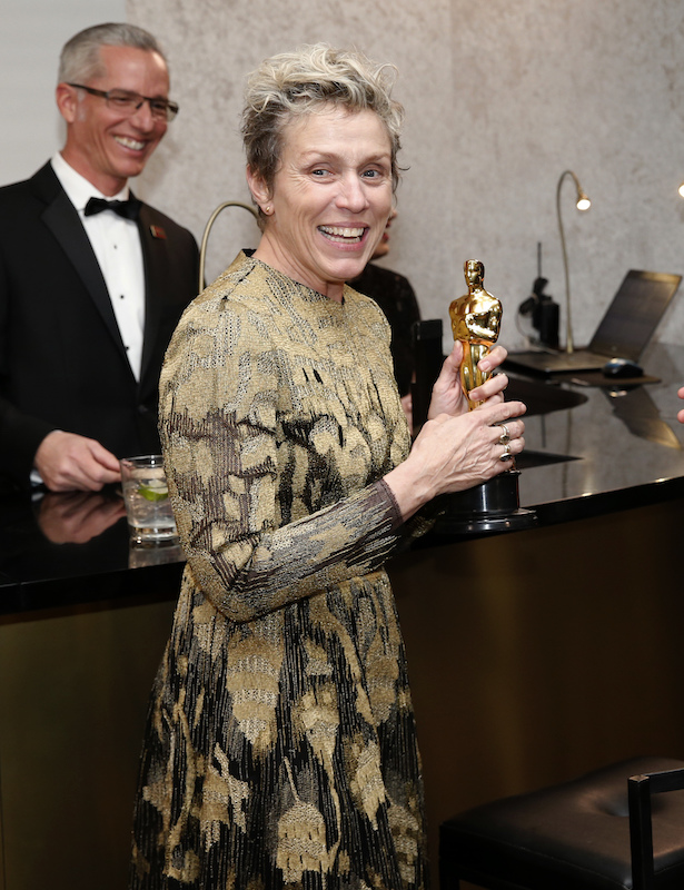 "<div class=""meta image-caption""><div class=""origin-logo origin-image ap""><span>AP</span></div><span class=""caption-text"">Frances McDormand, winner of the award for best performance by an actress in a leading role for ""€œThree Billboards Outside Ebbing, Missouri,"" attends the Governors Ball. (Eric Jamison/Invision/AP)</span></div>"