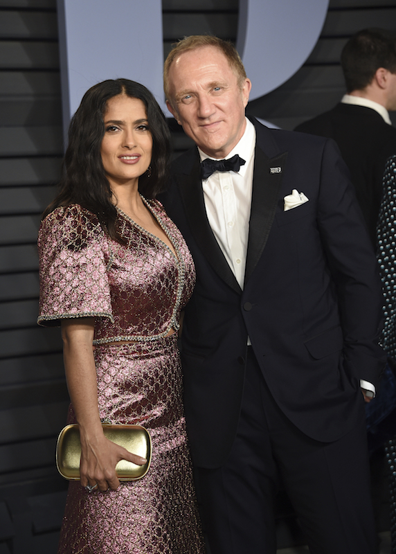 "<div class=""meta image-caption""><div class=""origin-logo origin-image ap""><span>AP</span></div><span class=""caption-text"">Selma Hayek, left, and Francois-Henri Pinault arrive at the Vanity Fair Oscar Party on Sunday, March 4, 2018, in Beverly Hills, Calif. (Evan Agostini/Invision/AP)</span></div>"