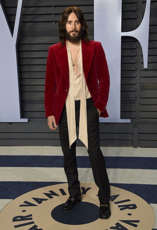 "<div class=""meta image-caption""><div class=""origin-logo origin-image ap""><span>AP</span></div><span class=""caption-text"">Jared Leto arrives at the Vanity Fair Oscar Party on Sunday, March 4, 2018, in Beverly Hills, Calif. (Evan Agostini/Invision/AP)</span></div>"