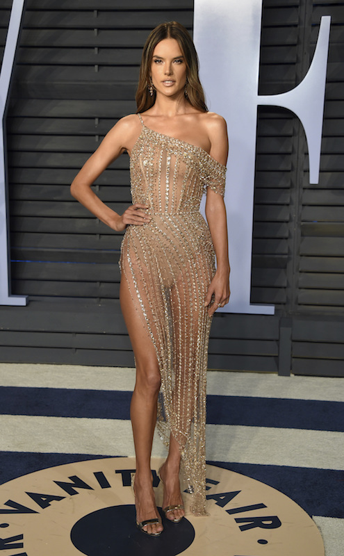 """<div class=""""meta image-caption""""><div class=""""origin-logo origin-image ap""""><span>AP</span></div><span class=""""caption-text"""">Alessandra Ambrosio arrives at the Vanity Fair Oscar Party on Sunday, March 4, 2018, in Beverly Hills, Calif. (Evan Agostini/Invision/AP)</span></div>"""