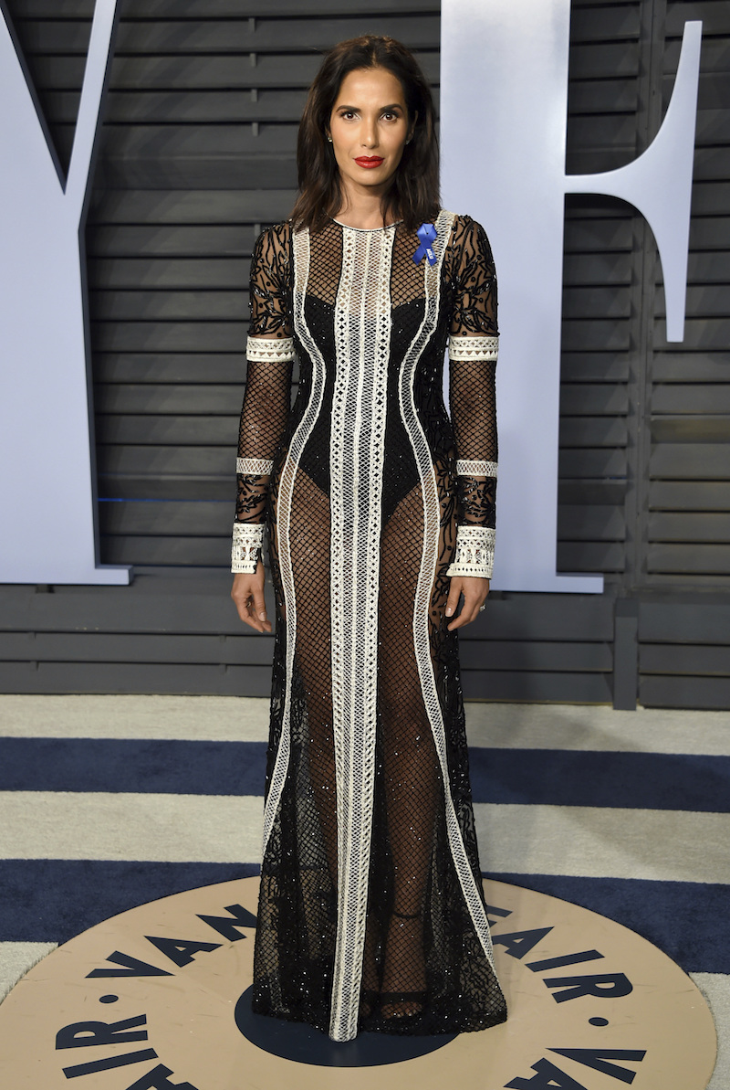 """<div class=""""meta image-caption""""><div class=""""origin-logo origin-image ap""""><span>AP</span></div><span class=""""caption-text"""">Padma Lakshmi arrives at the Vanity Fair Oscar Party on Sunday, March 4, 2018, in Beverly Hills, Calif. (Evan Agostini/Invision/AP)</span></div>"""