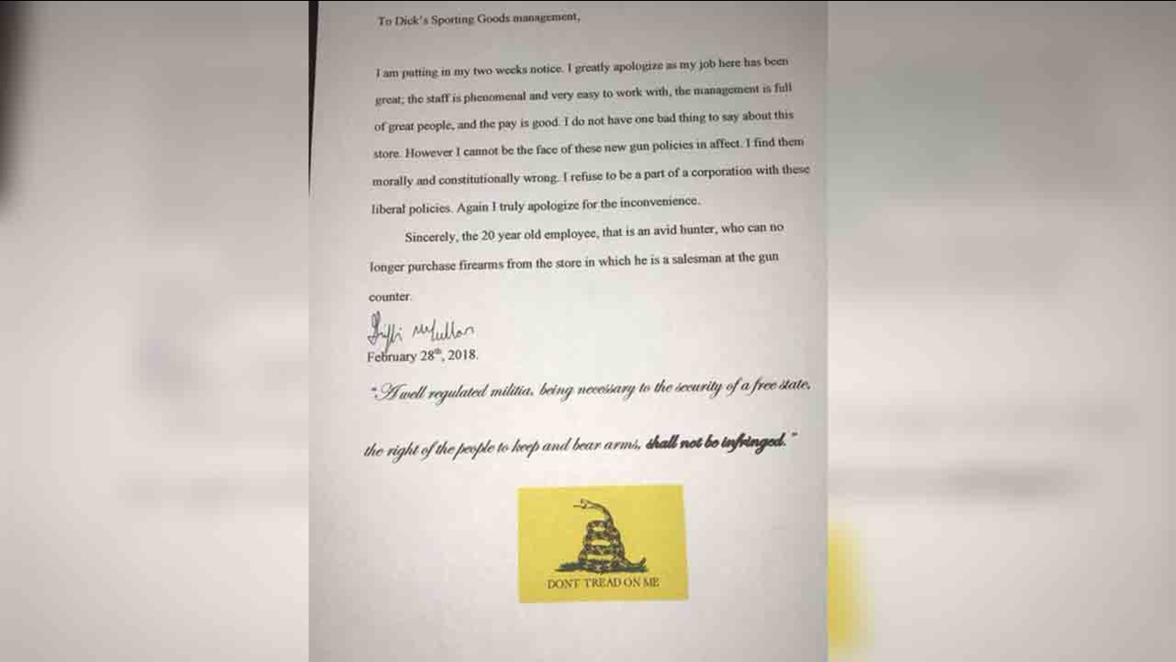 Griffin Mccullar posted this resignation letter to Facebook after DICK's announced they will no longer sell assault-style weapons to those under the age of 21