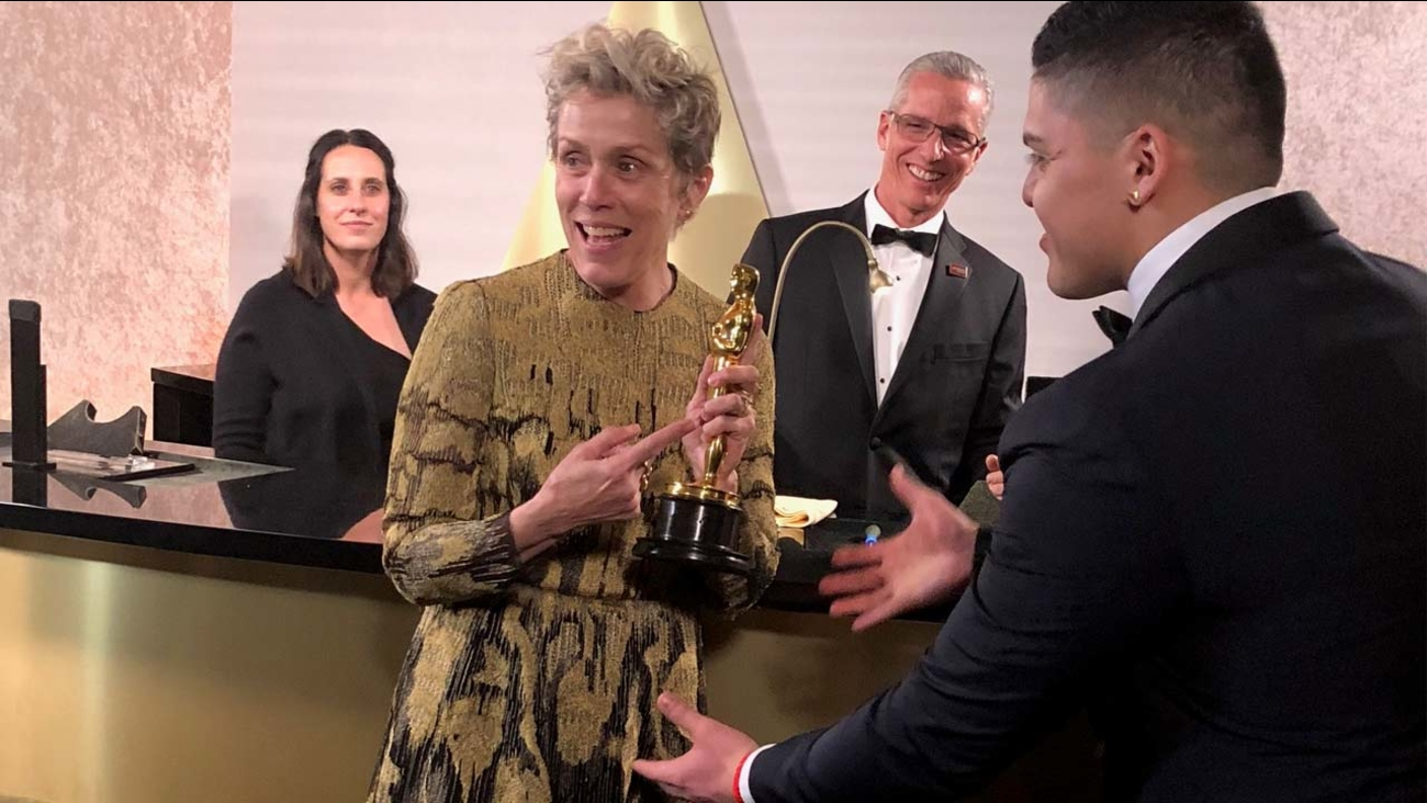 Frances McDormand gets her Oscar award engraved following the award show on Sunday, March 4, 2018.