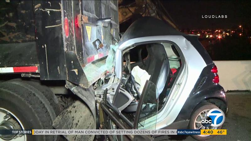Smart Car slams into dump truck on 405