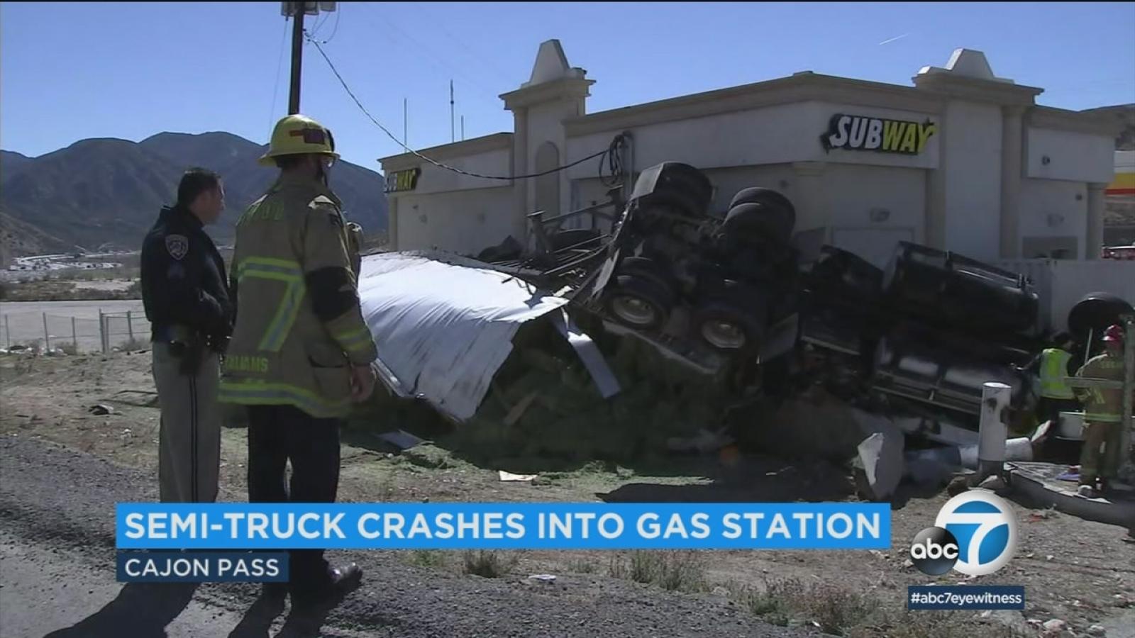 VIDEO: Semi-truck loses control, crashes into gas station in Cajon