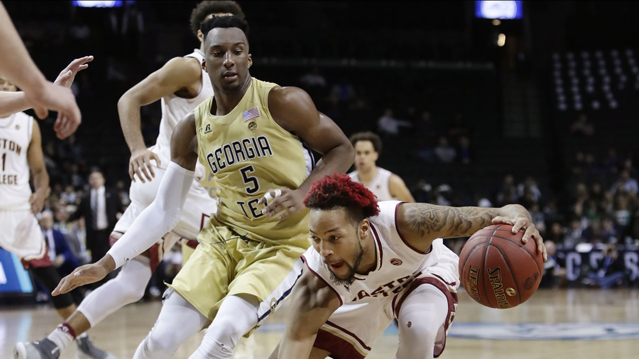 Georgia Tech's Josh Okogie (5) defends Boston College's Ky Bowman (0) during the second half of the ACC Tournament opening game on Tuesday.