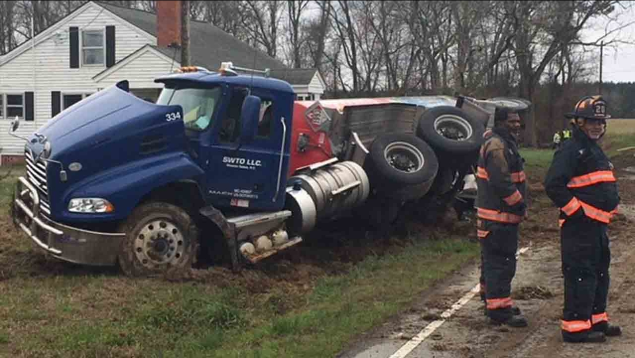 Man injured after diesel truck overturns in Johnston County
