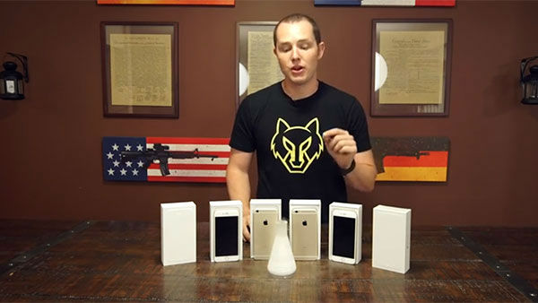 """<div class=""""meta image-caption""""><div class=""""origin-logo origin-image """"><span></span></div><span class=""""caption-text"""">Richard Ryan with all the iPhones before their tests (Photo/YouTube, RatedRR)</span></div>"""