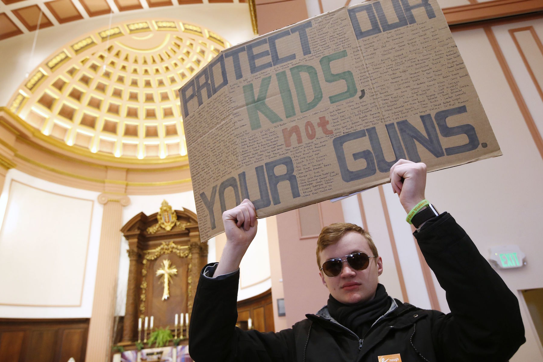 <div class='meta'><div class='origin-logo' data-origin='AP'></div><span class='caption-text' data-credit='AP Photo/Michael Dwyer'>Boston area high school students gather in St. Paul's Cathedral in Boston before a march to the Statehouse, Wednesday, March 14, 2018.</span></div>