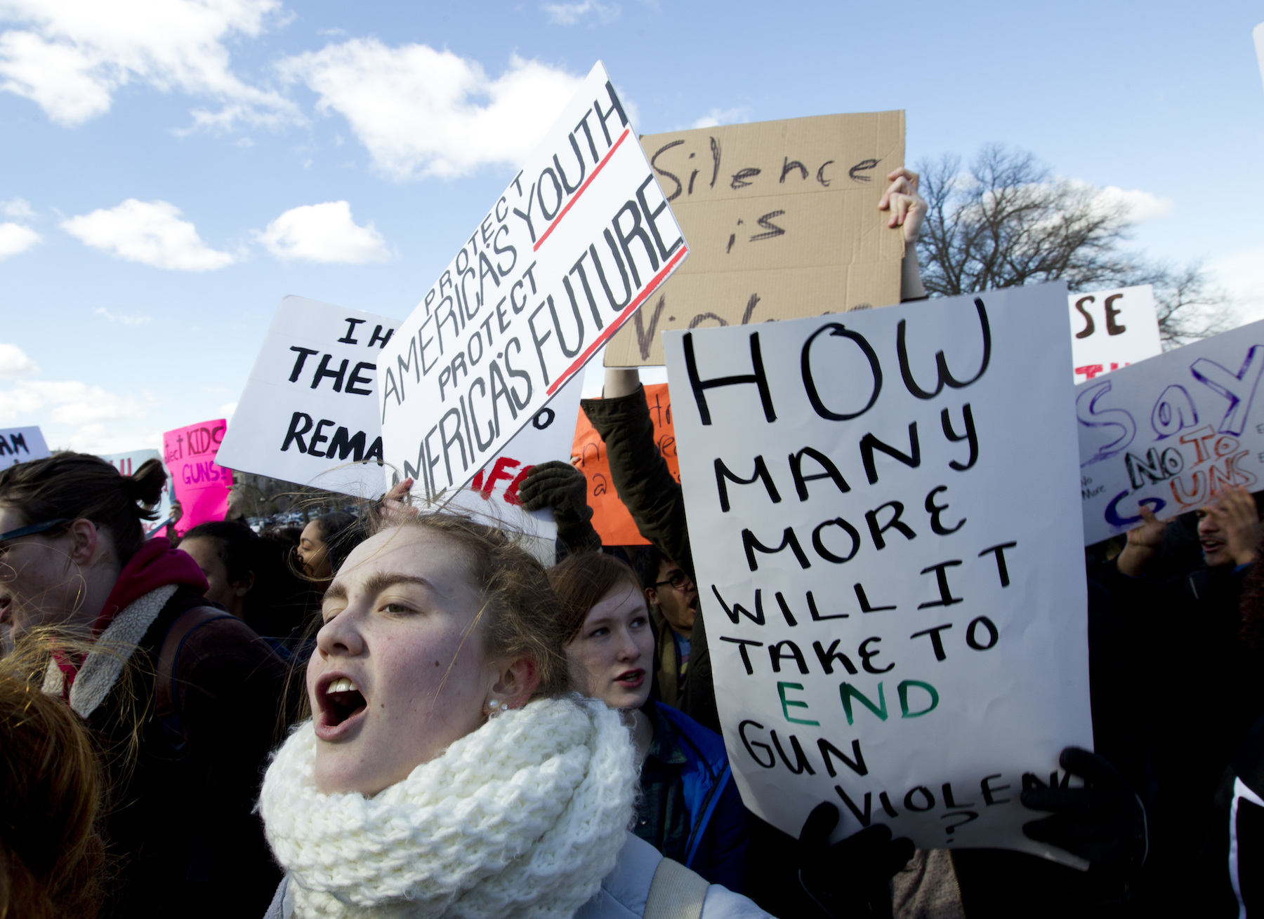 "<div class=""meta image-caption""><div class=""origin-logo origin-image ap""><span>AP</span></div><span class=""caption-text"">Students hold up their signs during a rally asking for gun control outside of the U.S. Capitol building, in Wednesday, March 14, 2018, in Washington. (AP Photo/Jose Luis Magana)</span></div>"