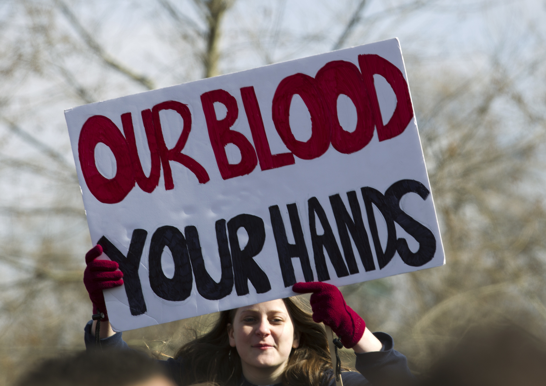 <div class='meta'><div class='origin-logo' data-origin='AP'></div><span class='caption-text' data-credit='AP Photo/Jose Luis Magana'>Students hold up their signs during a rally asking for gun control outside of the U.S. Capitol building, in Wednesday, March 14, 2018, in Washington.</span></div>