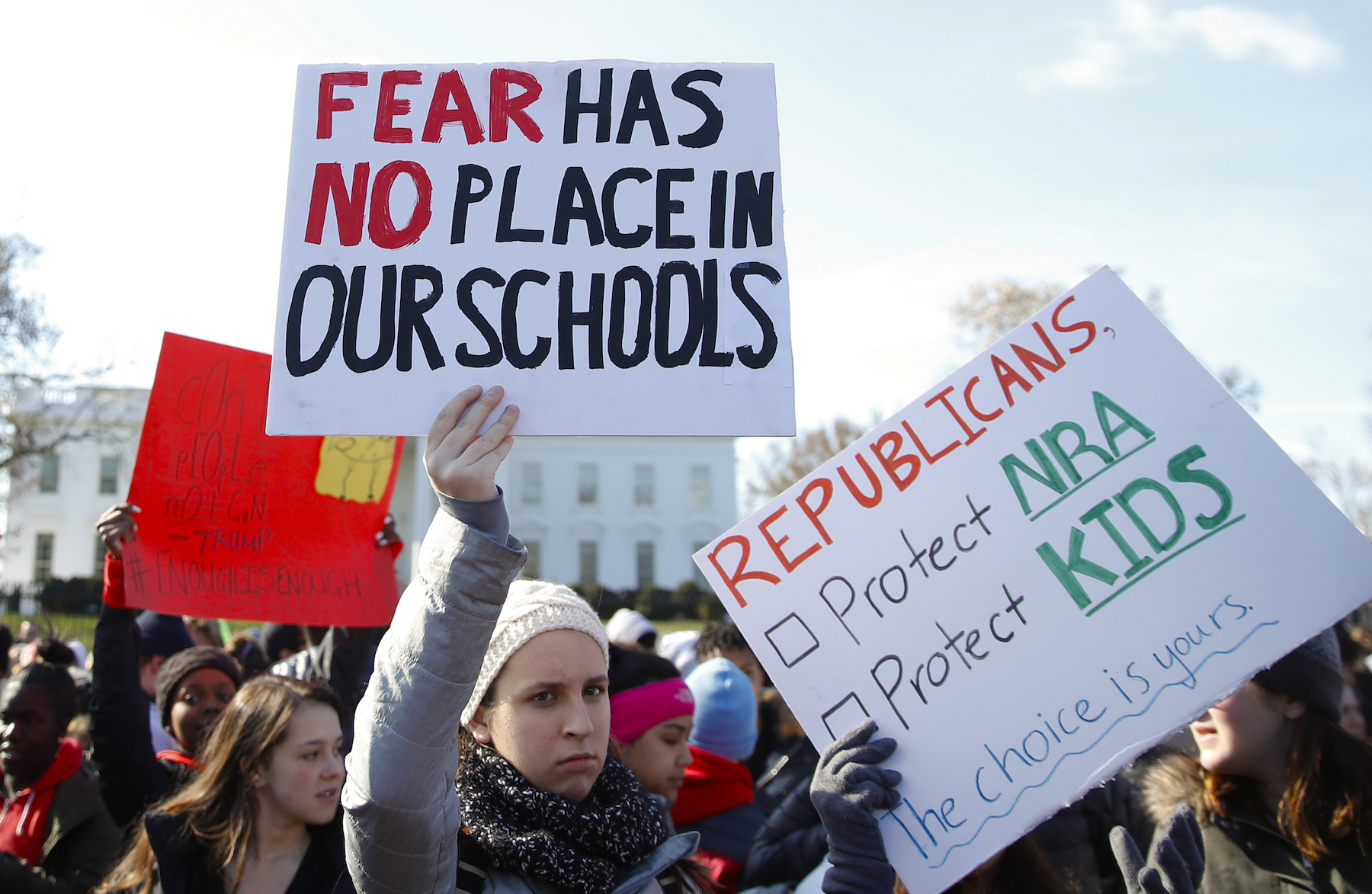 <div class='meta'><div class='origin-logo' data-origin='AP'></div><span class='caption-text' data-credit='AP Photo/Carolyn Kaster'>Students Rally in front of the White House in Washington, Wednesday, March 14, 2018.</span></div>