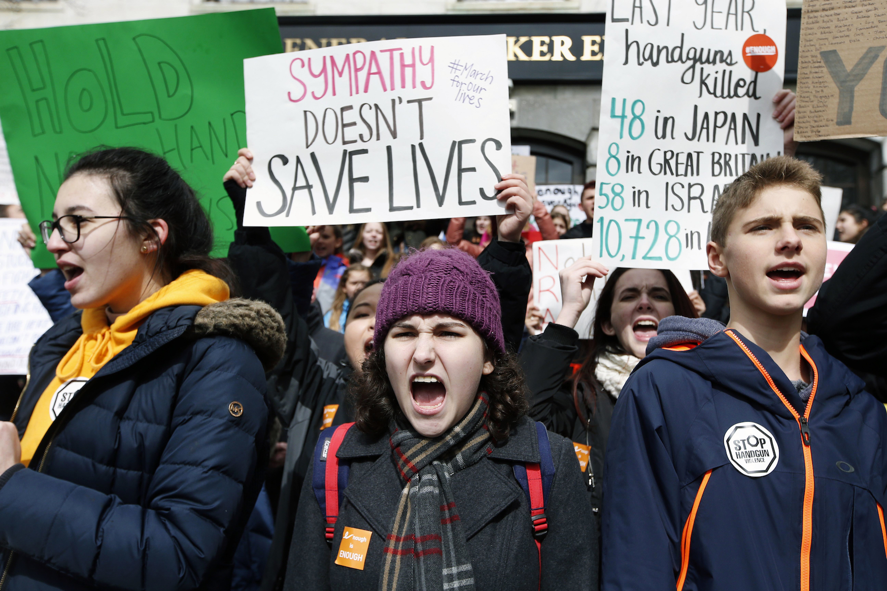 <div class='meta'><div class='origin-logo' data-origin='AP'></div><span class='caption-text' data-credit='AP Photo/Michael Dwyer'>Boston area students chant on the Statehouse steps during a rally in Boston, Wednesday, March 14, 2018.</span></div>
