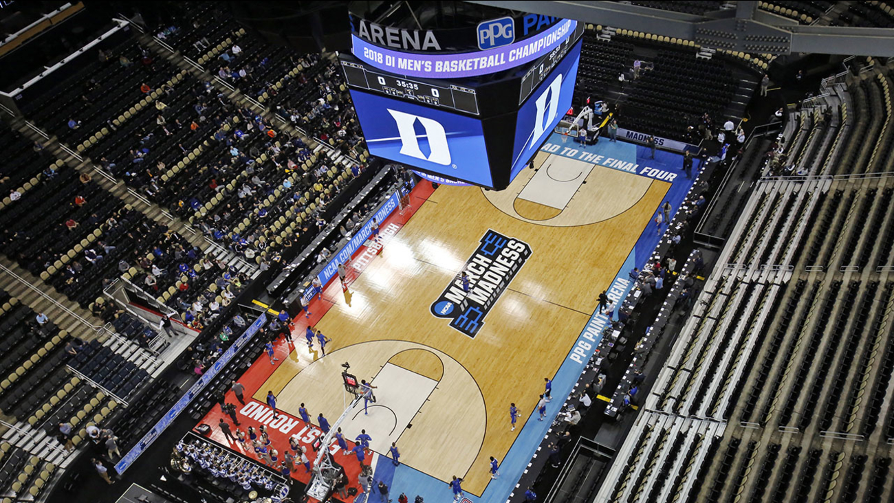Duke takes the court for a practice for an NCAA college basketball first round game at the PPG Paints Arena in Pittsburgh on Wednesday.