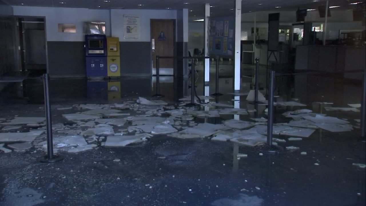 Flood damage is seen inside a DMV office in Oakland, Calif. in this undated image.