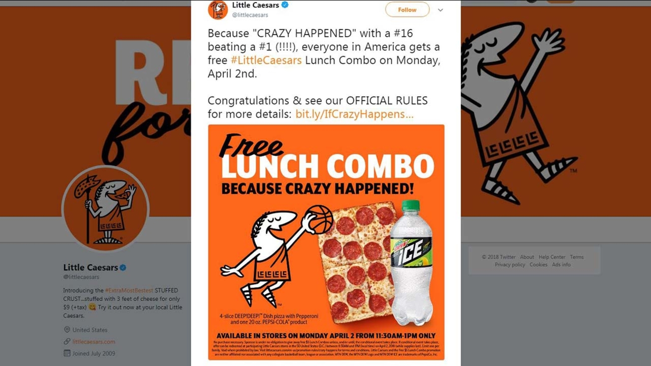 free pizza little caesars set to give away lunch combos on monday