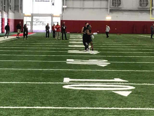 <div class='meta'><div class='origin-logo' data-origin='WTVD'></div><span class='caption-text' data-credit='Charlie Mickens'>Receivers and backs run routes at NC State's pro day Monday in Raleigh.</span></div>