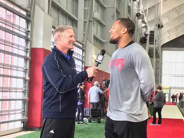 <div class='meta'><div class='origin-logo' data-origin='WTVD'></div><span class='caption-text' data-credit='Charlie Mickens'>NC State's Bradley Chubb does an interview. Chubb is expected to be a top 5 NFL draft pick.</span></div>
