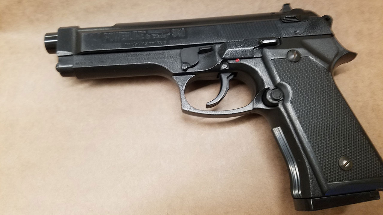 Camarillo police say a student at Frontier High School brought this BB gun, that resembles a 9mm Beretta, onto campus.