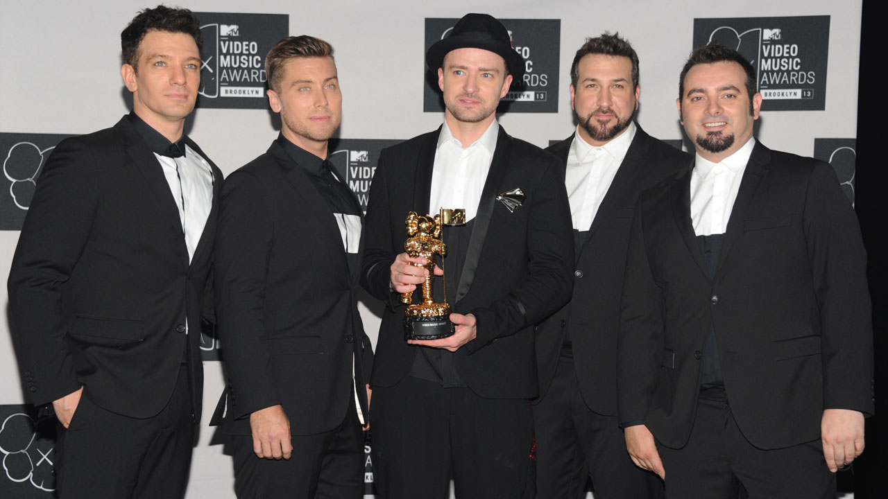In this Aug. 25, 2013, file photo, Justin Timberlake with JC Chasez, Lance Bass, Joey Fatone and Chris Kirkpatrick of NSYNC are shown at the MTV Video Music Awards.
