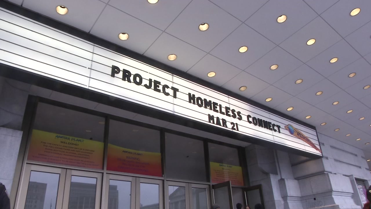 A marquee is seen for the Project Homeless Connect is seen in San Francisco on March 21, 2018.