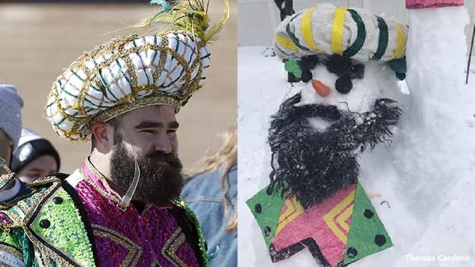7c908a01742c9 Philadelphia Eagles fans create Jason Kelce Mummer snowmen during ...