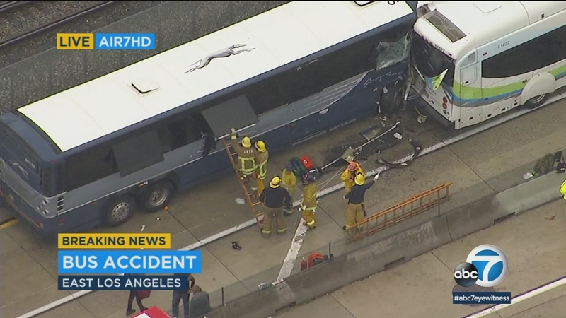 13 injured in East Los Angeles bus crash