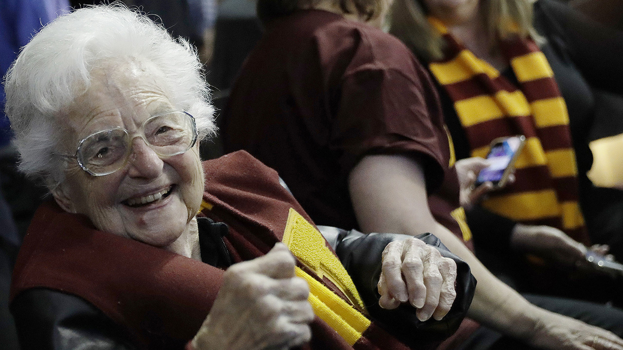 Sister Jean Dolores Schmidt sits with other Loyola-Chicago fans during the Ramblers' win against Nevada on Thursday in Atlanta.