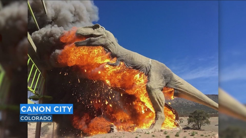 FIRE LIZARD: T-Rex catches fire at dinosaur themed park in Colorado