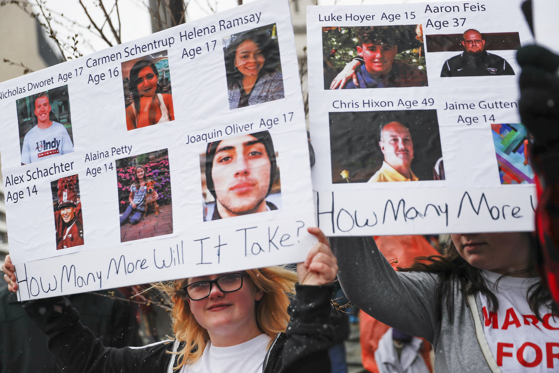"<div class=""meta image-caption""><div class=""origin-logo origin-image ap""><span>AP</span></div><span class=""caption-text"">Shelby Powell, 15, of Newport High School, holds a sign depicting lives lost in school shootings during the March for Our Lives protest in Cincinnati. (AP Photo/John Minchillo)</span></div>"