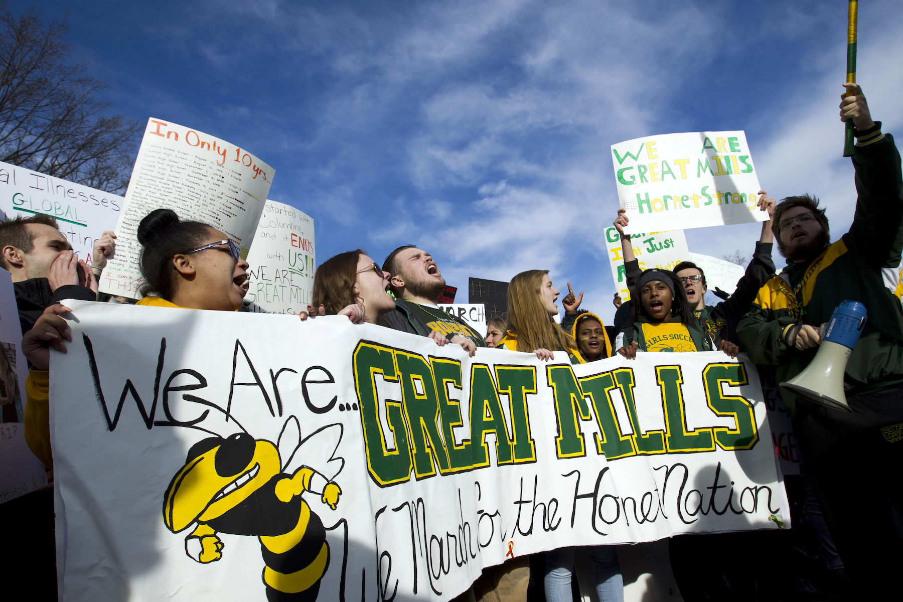 "<div class=""meta image-caption""><div class=""origin-logo origin-image ap""><span>AP</span></div><span class=""caption-text"">Students from Great Mills High School of Maryland, protest during the ""€œMarch for Our Lives"" rally in support of gun control in Washington. (AP Photo/Jose Luis Magana)</span></div>"