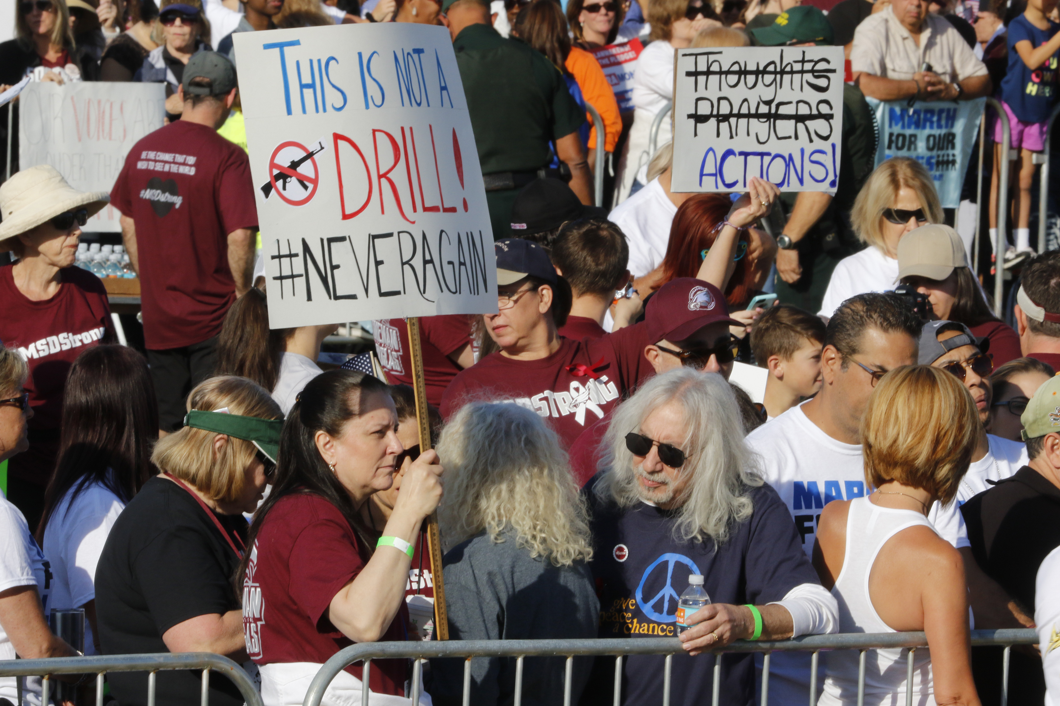 <div class='meta'><div class='origin-logo' data-origin='AP'></div><span class='caption-text' data-credit='AP Photo/Joe Skipper'>Participants gather during the March For Our Lives event, Saturday, March 24, 2018, in Parkland, Fla.</span></div>