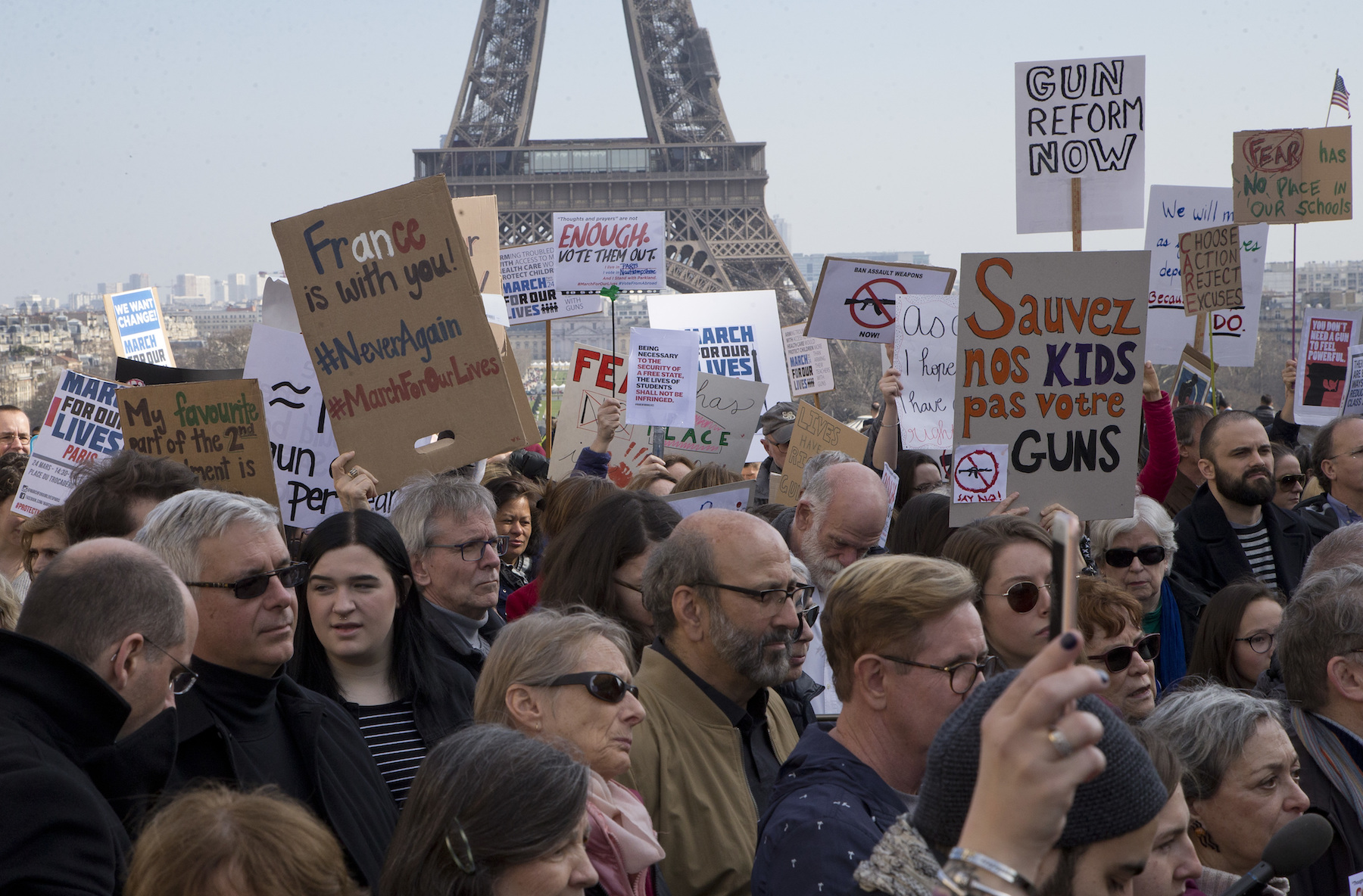 "<div class=""meta image-caption""><div class=""origin-logo origin-image ap""><span>AP</span></div><span class=""caption-text"">People hold banners during the ""March For Our Lives"" event in Paris, France, Saturday, March 24, 2018. (AP Photo/Michel Euler)</span></div>"