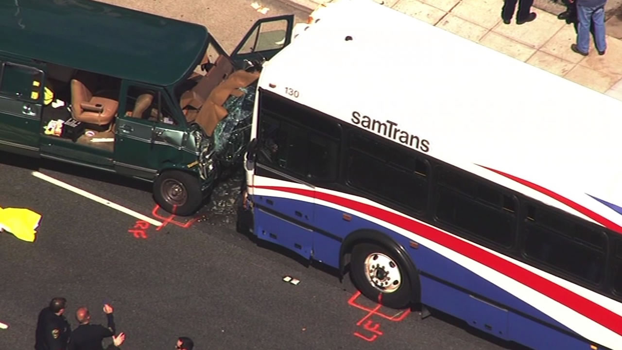 A van collides head-on into a SAMTRANS bus in San Mateo, resulting in two fatalities.