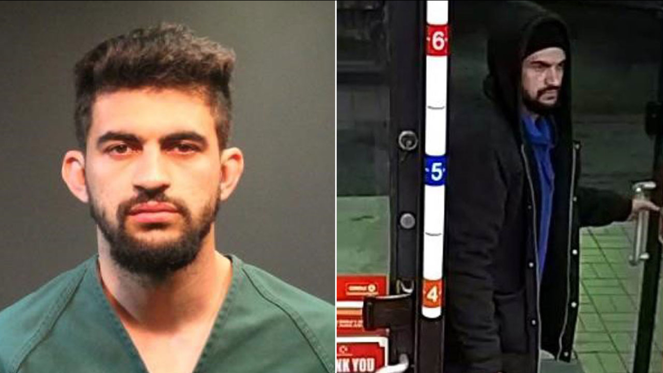 Raffik Silva Zafret, 26, of Santa Ana, is shown in a mugshot alongside surveillance image authorities say is of him during an armed robbery.
