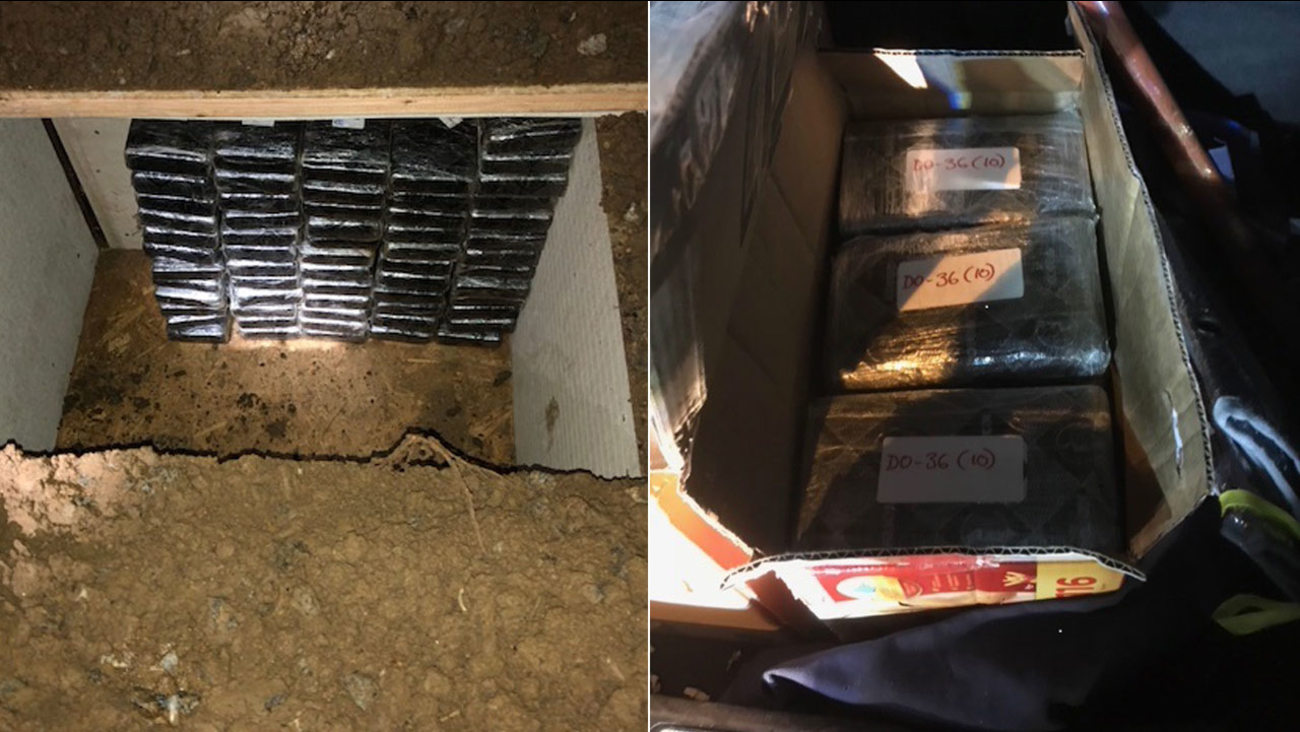 Authorities provided pictures of an underground bunker filled with kilos of cocaine at an Inland Empire home.
