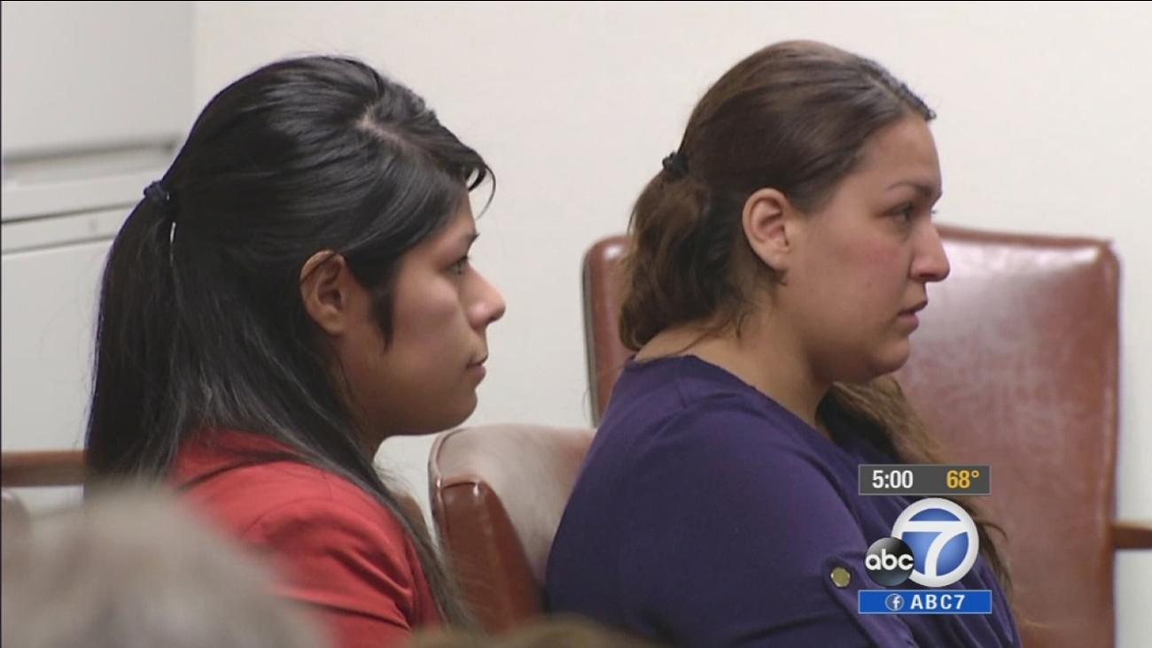Vanesa Zavala (L) and Candace Brito (R) are seen at a preliminary hearing on Feb. 10, 2014.