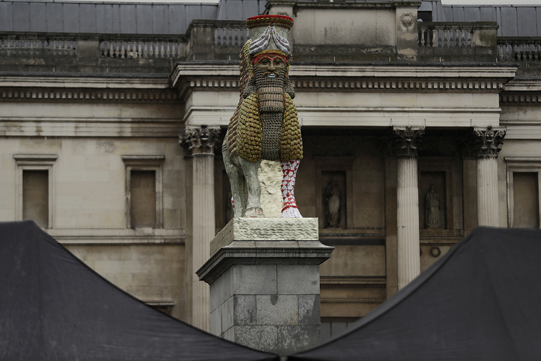 "<div class=""meta image-caption""><div class=""origin-logo origin-image ap""><span>AP</span></div><span class=""caption-text"">""The Invisible Enemy Should Not Exist"" sculpture was unveiled on Wednesday in Trafalgar Square in London. (AP Photo/Matt Dunham)</span></div>"