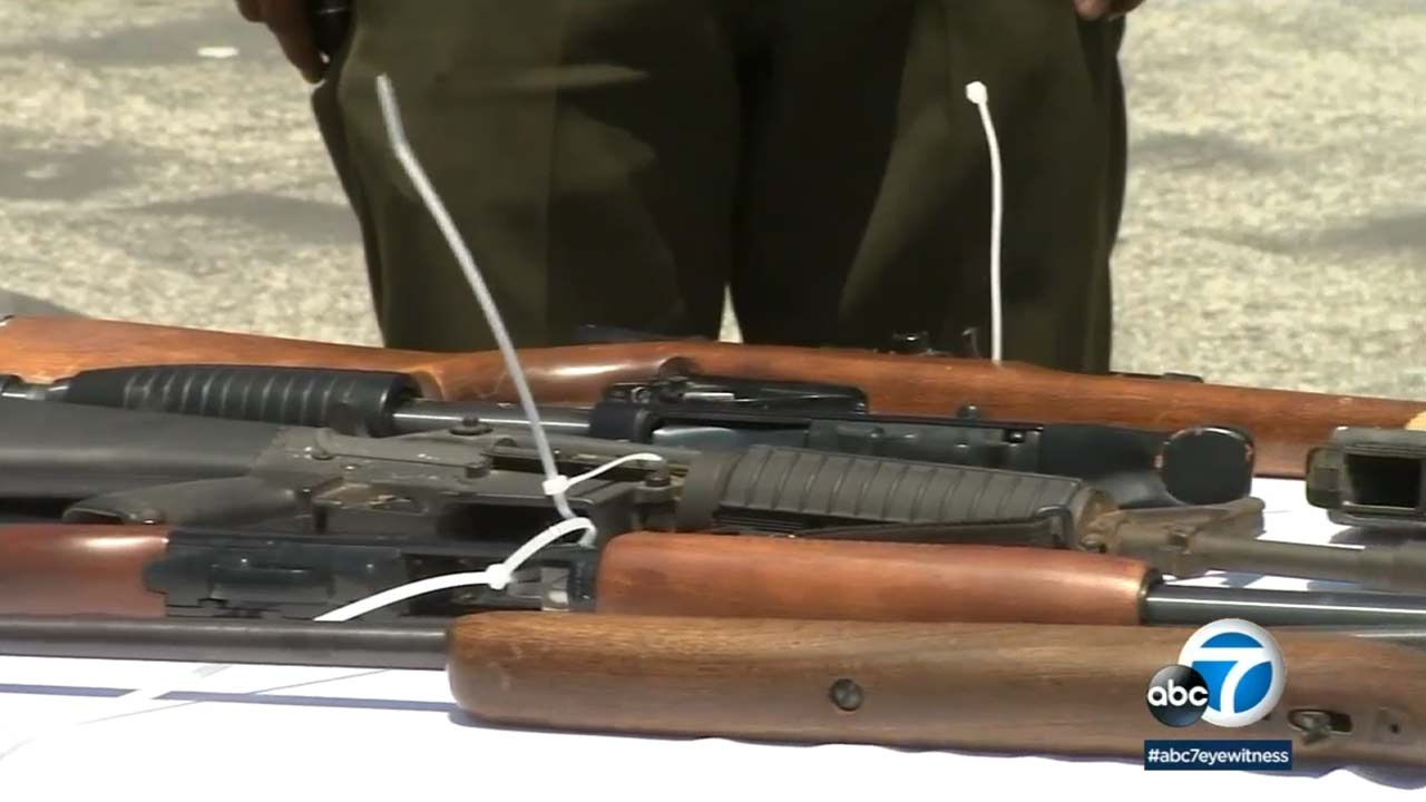 Guns are seen in this undated file photo.