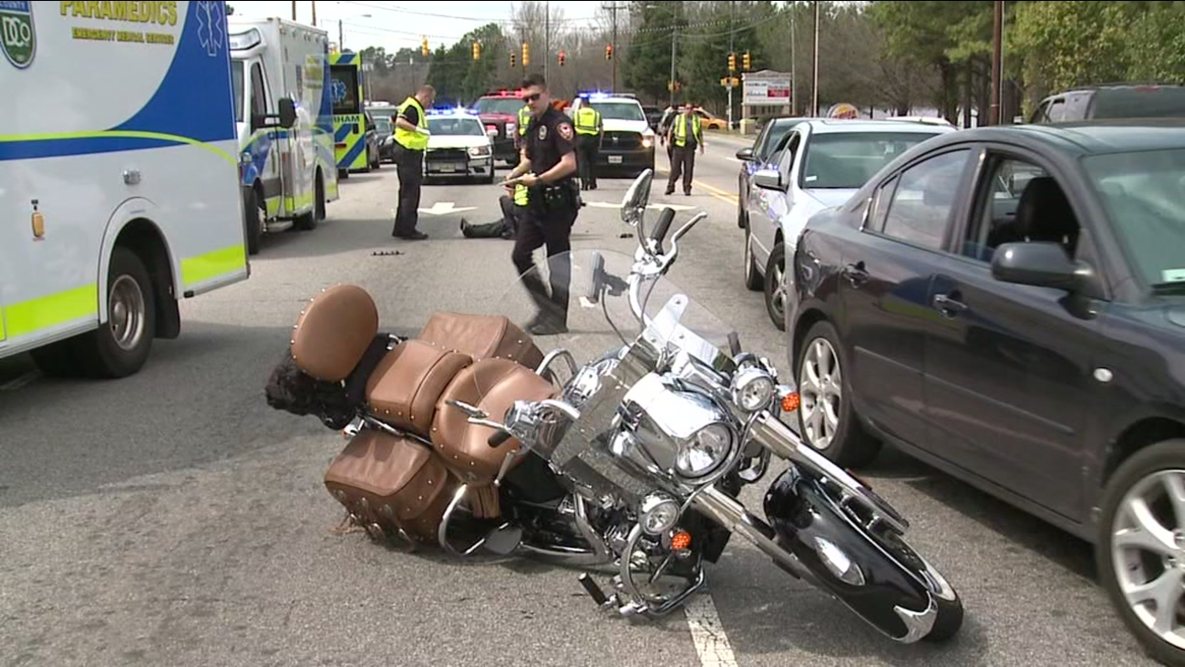 A motorcyclist and a pedestrian both suffered injuries during a crash on N. Roxboro Street in Durham.