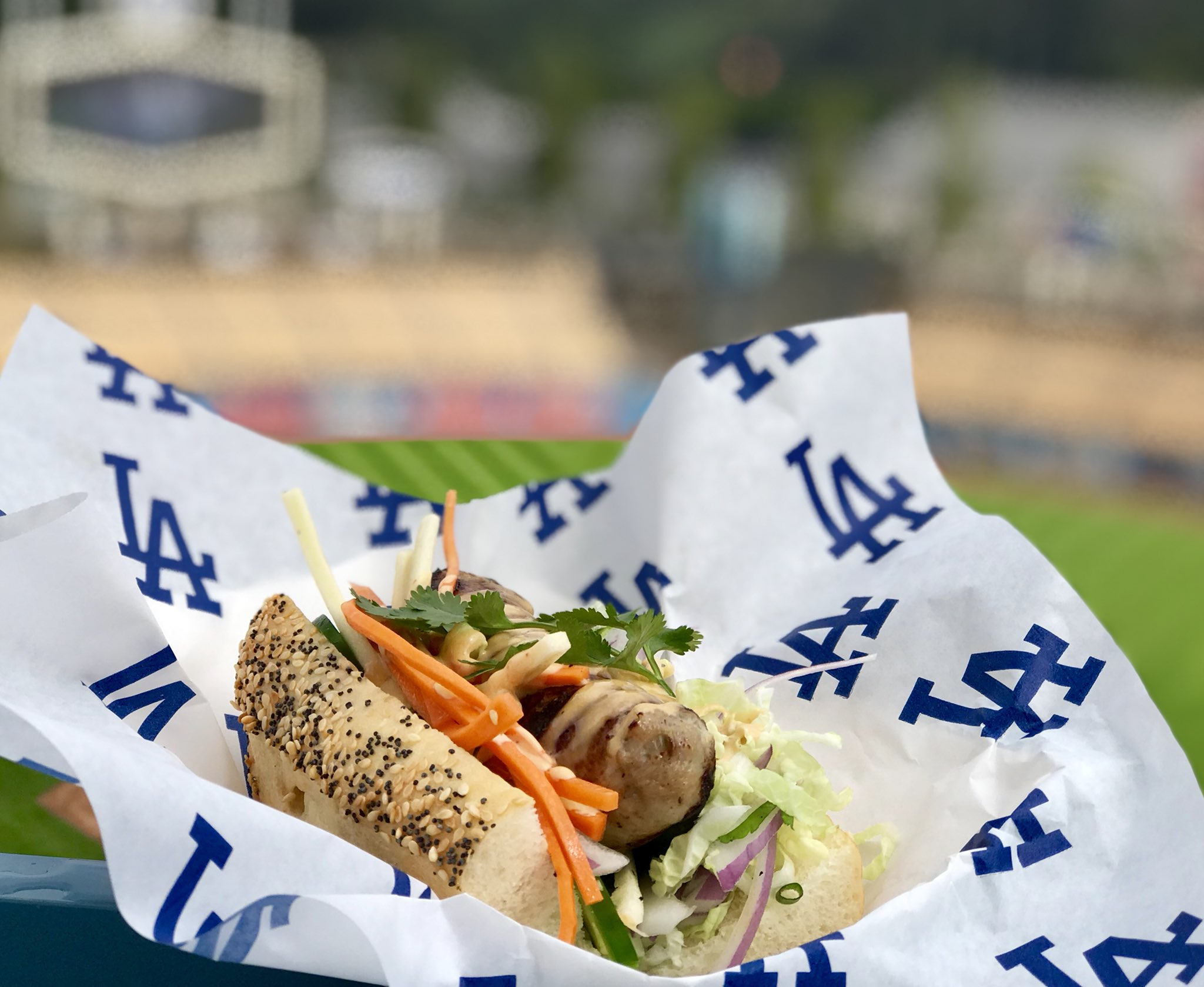 "<div class=""meta image-caption""><div class=""origin-logo origin-image none""><span>none</span></div><span class=""caption-text"">A Chicken Sausage Bahn Mi is shown at Dodger Stadium. (Levy)</span></div>"