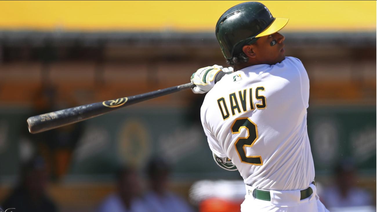 Athletics' Khris Davis hits a three-run home run off Los Angeles Angels' Garrett Richards during a baseball game on Thursday, March 29, 2018 in Oakland, Calif.  (AP Photo)