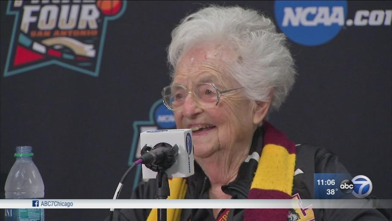 Sister Jean speaks as Loyola fans head south