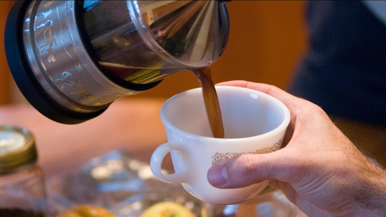 Coffee is poured into a cup