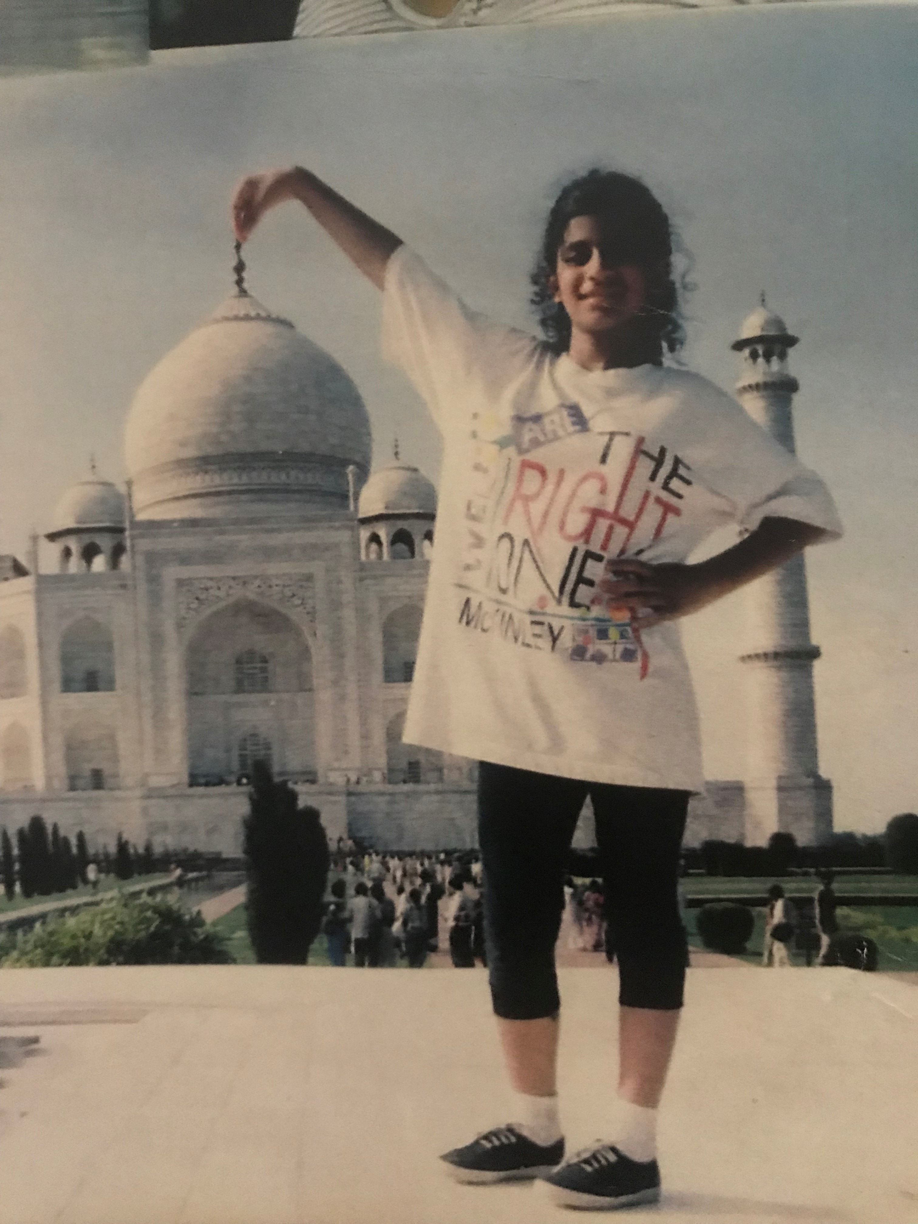 <div class='meta'><div class='origin-logo' data-origin='none'></div><span class='caption-text' data-credit=''>THROWBACK IN INDIA: This isn't Pooja Lodhia's first trip to Agra to see the Taj Mahal. Here's an adorable photo of Pooja visiting the shrine.</span></div>