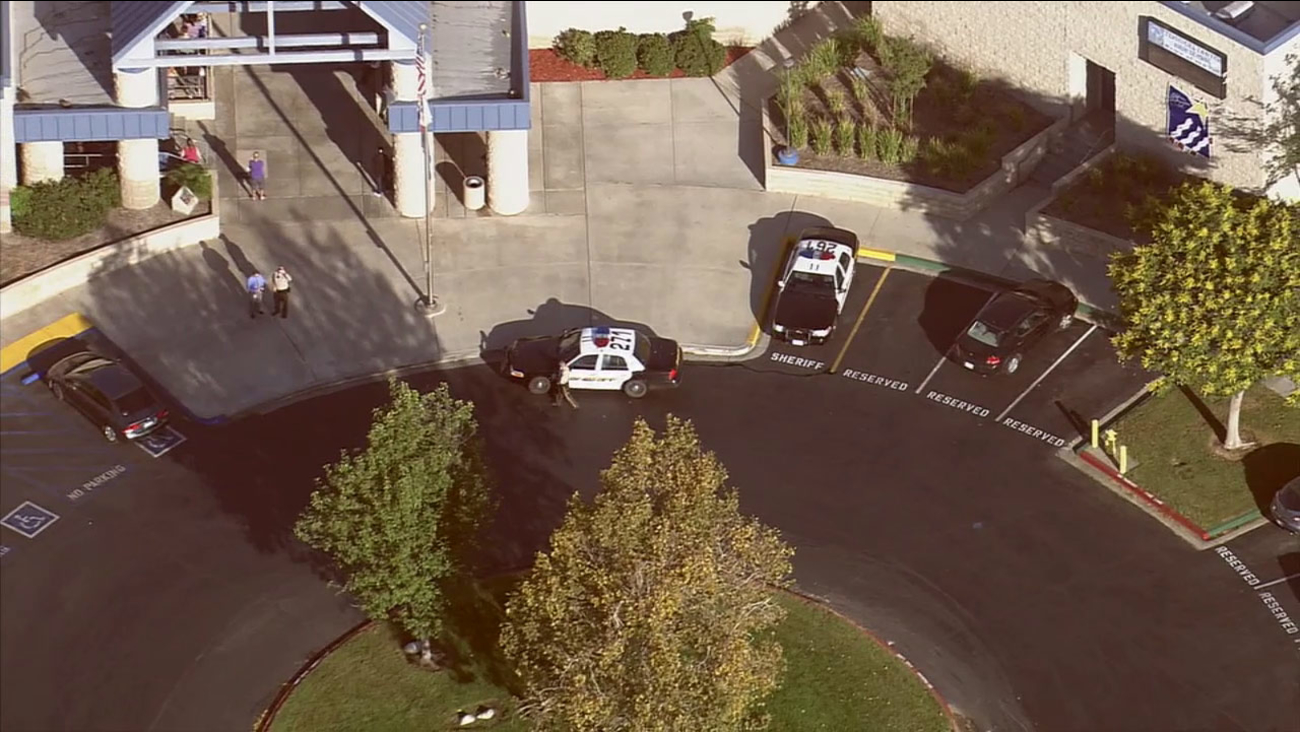 Officers respond to Temescal Canyon High School in Lake Elsinore due to a rumor of a threat on Monday, Sept. 29, 2014.