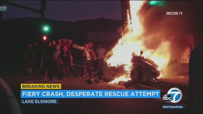 VIDEO: Several rush to aid victim in deadly Lake Elsinore crash