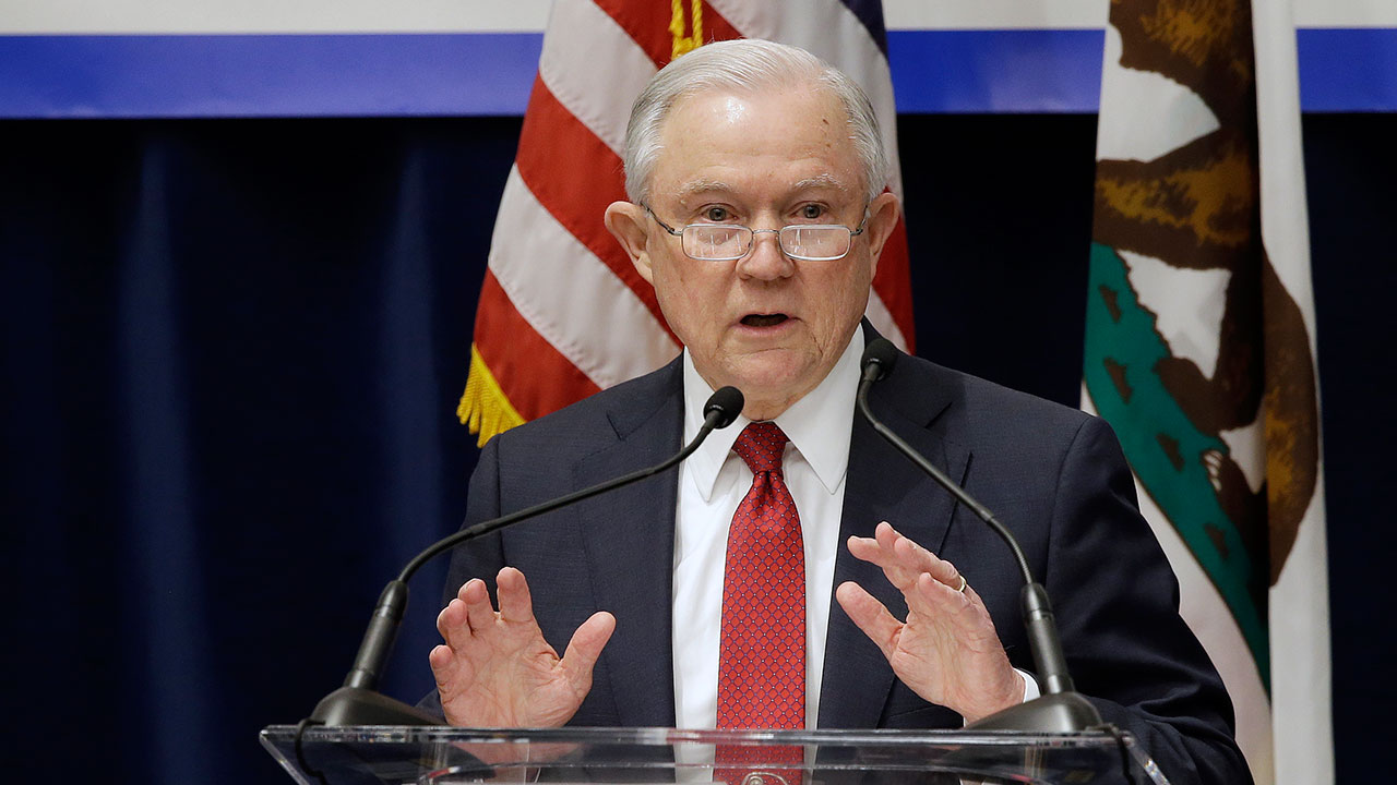 U.S. Attorney General Jeff Sessions speaks to a California law enforcement group in Sacramento on March 7, 2018.