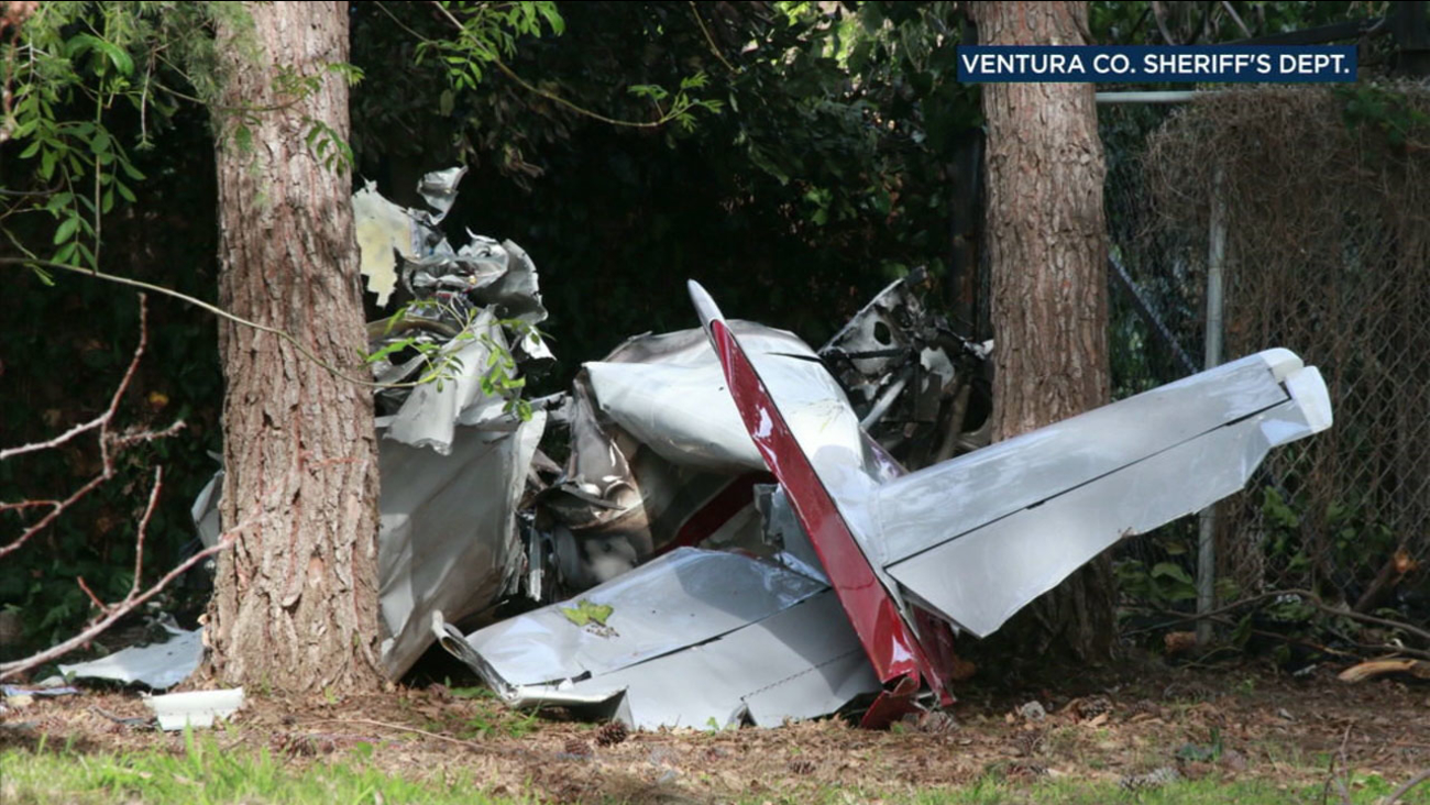 A mangled homebuilt single-engine aircraft is shown after it crashed into a storage container on a property just outside of Santa Paula on Saturday, April 2, 2018.
