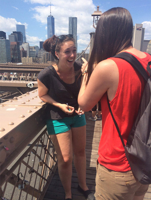 "<div class=""meta image-caption""><div class=""origin-logo origin-image ""><span></span></div><span class=""caption-text"">As the couple were attaching locks to the bridge, Harris proposed to a shocked Fader, with her ring attached to one of the locks. (Erin Raine)</span></div>"